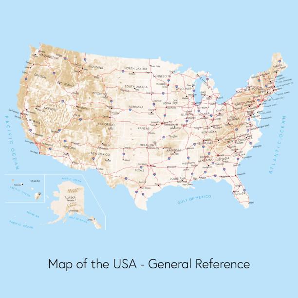 karte der usa allgemeine referenz - forschungsurlaub stock-grafiken, -clipart, -cartoons und -symbole