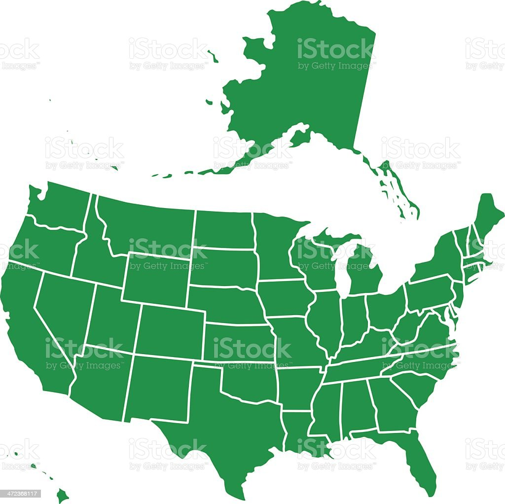 Map Of The Usa Including Alaska In Green On White stock vector art