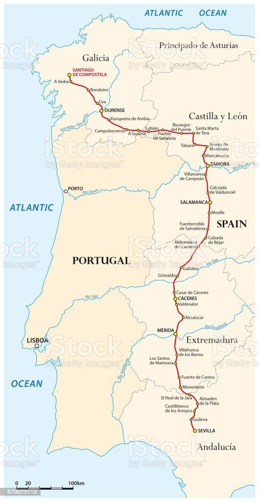 Jakobsweg Spanien Karte.Karte Von Den Jakobsweg Von Sevilla Nach Santiago De Compostela