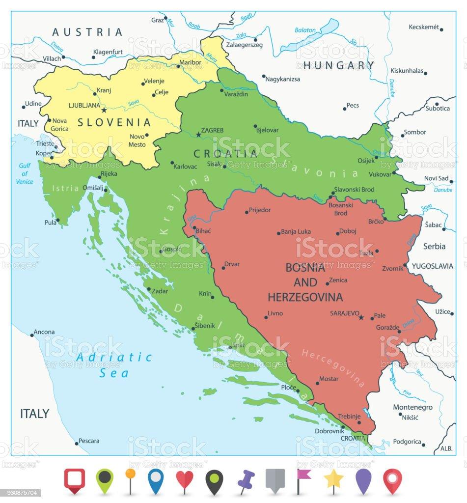 Karta Bosnien Och Hercegovina.Karta Over Vastra Balkan Och Platt Karta Pekare Vektorgrafik Och