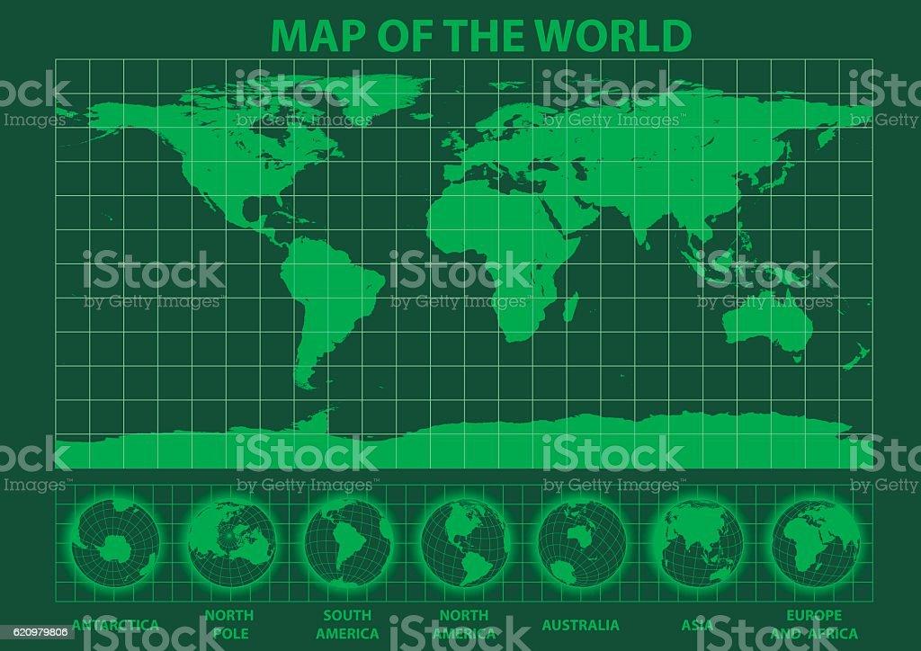 Map of the world green phosphor ilustração de map of the world green phosphor e mais banco de imagens de antártica royalty-free