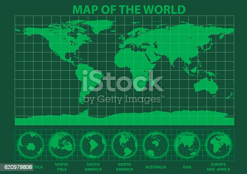 Very high detailed map of the world as seen in an old green phosphor monitor.