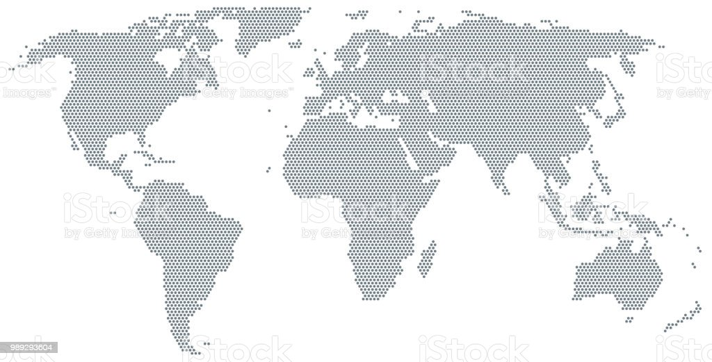 Map of the world made of gray dots vector art illustration