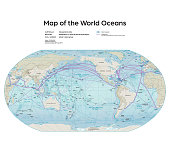 Vector illustration of the map of the world oceans.  Reference map was created by the US Central Intelligence Agency and is available as a public domain map at the University of Texas Libraries website. https://www.cia.gov/library/publications/resources/the-world-factbook/attachments/docs/original/world_oceans.pdf?1528326243  Software used in the creation of the map is Adobe Illustrator CC