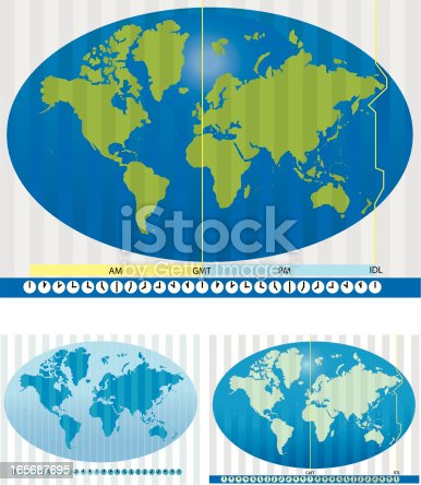 Stylized Map of the world, with 2 alternate color formats, showing 24 hour time zones,Greenwich Mean Time and the International Date Line. Clocks at the bottom show time relative to GMT at noon. Maps have stripe zones per hour and key lines on separate layers and  easily edited.