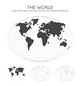 Map of The World. Fahey pseudocylindrical projection. Globe with latitude and longitude lines. World map on meridians and parallels background. Vector illustration.