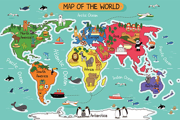 ilustraciones, imágenes clip art, dibujos animados e iconos de stock de mapa del mundo - mapa de antártida
