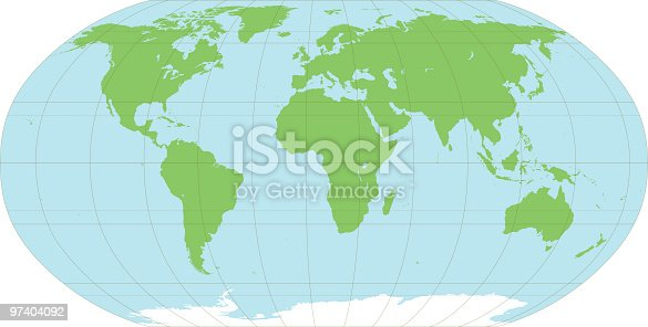 An accurate map of the world, on 8 layers to aid editing. The map includes longitude at 30 degree intervals and major latitude lines such as the equator, the tropics and arctic and antarctic circles.