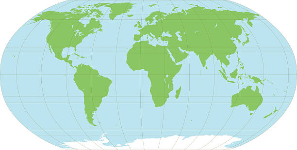 Map of the world An accurate map of the world, on 8 layers to aid editing. The map includes longitude at 30 degree intervals and major latitude lines such as the equator, the tropics and arctic and antarctic circles. longitude stock illustrations
