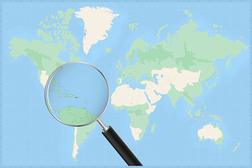 Map of the world with a magnifying glass on a map of Puerto Rico.
