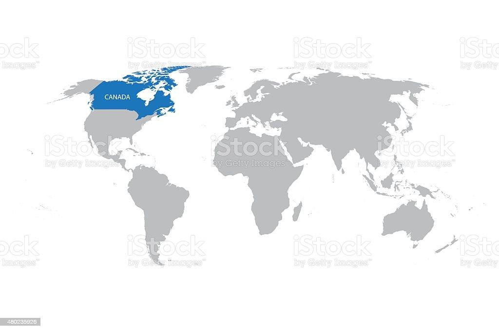 Weltkarte Mit Zeichen Von Kanada Stock Vektor Art Und Mehr