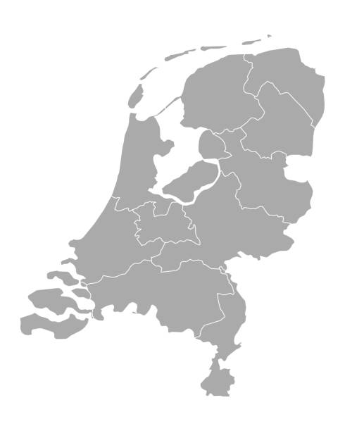 map of thr netherlands - holandia stock illustrations