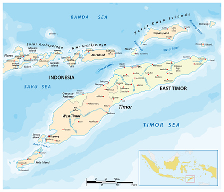 Map of Timor Island, East Timor and Indonesia