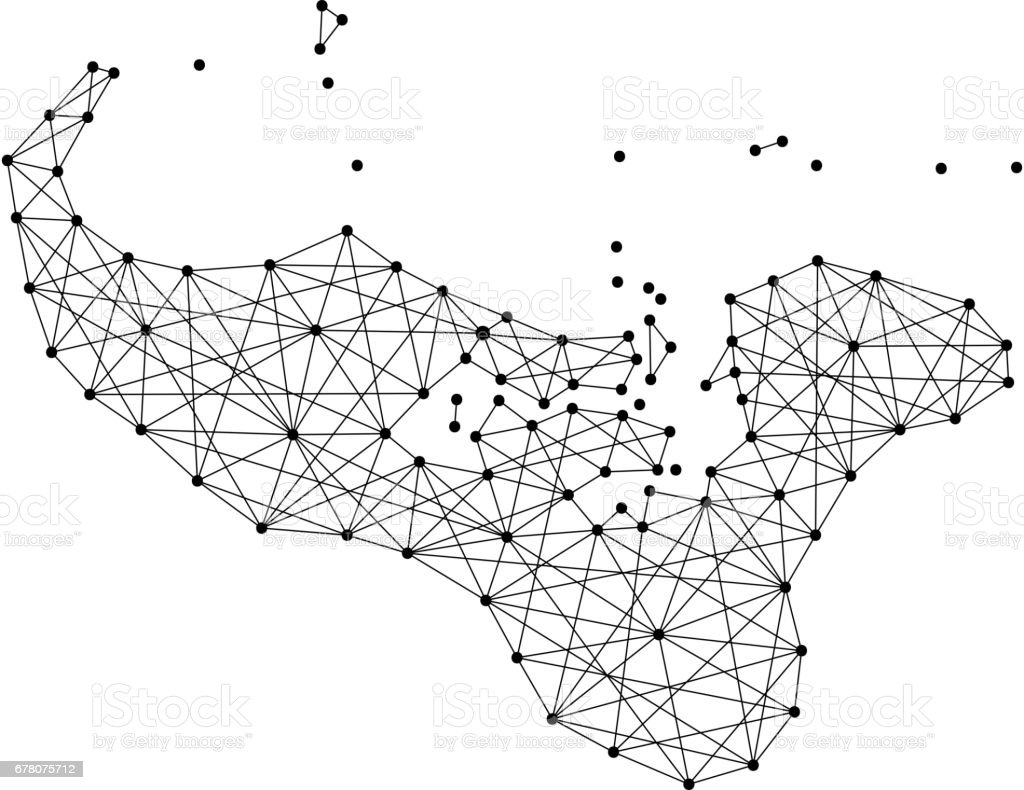 Map of Tonga from polygonal black lines and dots of vector illustration vector art illustration