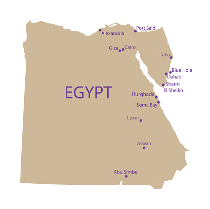 Map Of Top Touristic Places In Egypt Stock Illustration Download Image Now Istock