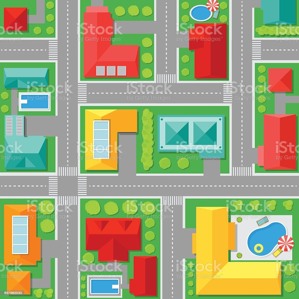 Map of Town Top View. Vector vector art illustration