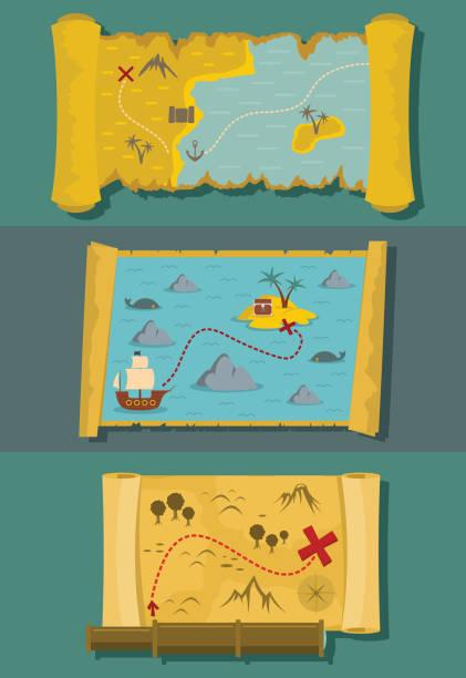ilustrações, clipart, desenhos animados e ícones de mapa de conjunto horizontal da bandeira de tesouro, estilo simples - mapas de tesouro