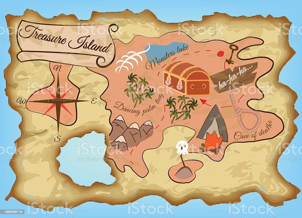 Mapa Isla Del Tesoro.Ilustracion De Mapa De La Isla Del Tesoro Y Mas Vectores