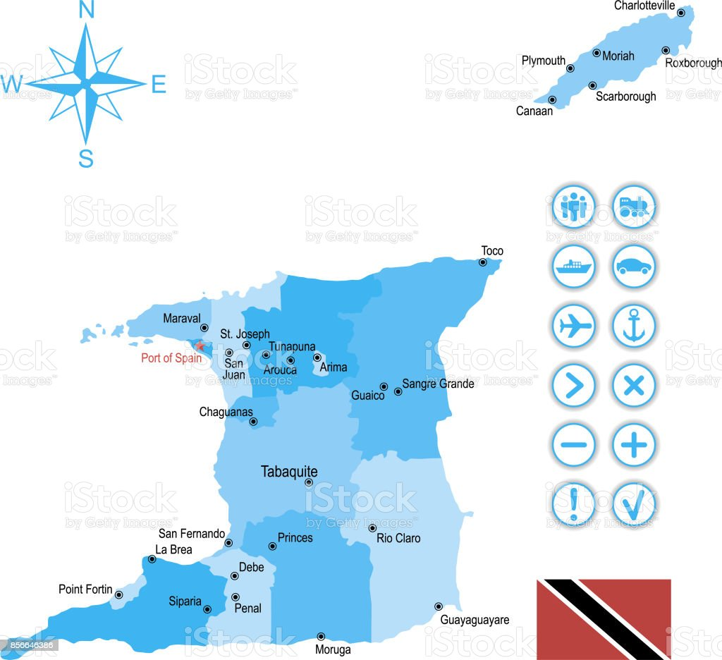 Map Of Trinidad And Tobago With Flag Icons And Key Stock Illustration Download Image Now Istock