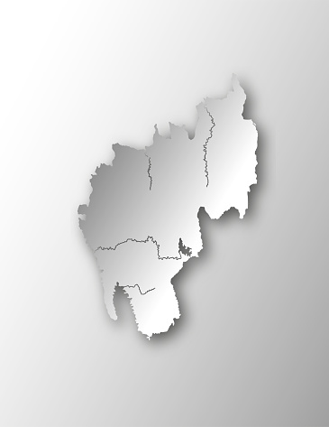 Map of Tripura with lakes and rivers.