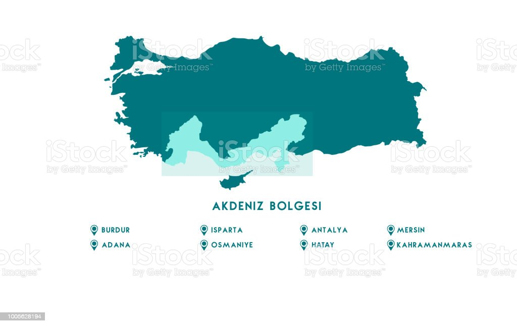 Türkiye Haritası. Yüksek detaylı vektör harita - Türkiye. vektör sanat illüstrasyonu
