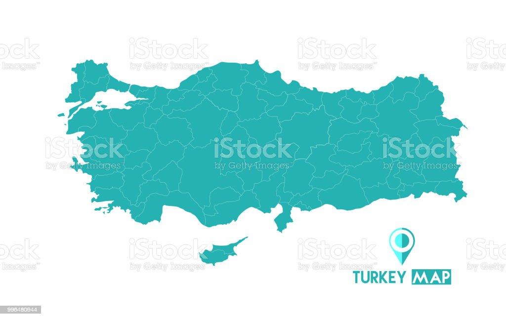 Mapa da Turquia. Mapa de alta detalhadas vector - Turquia. - ilustração de arte em vetor