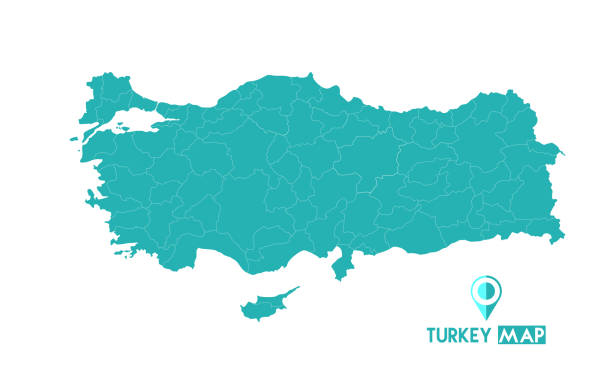 Map of turkey. High detailed vector map - turkey. Map of turkey. High detailed vector map - turkey. turkish stock illustrations