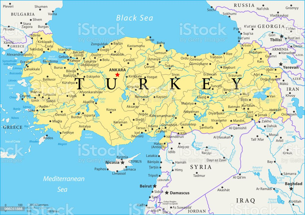 Karte Türkei.Karte Von Türkei Vektor Stock Vektor Art Und Mehr Bilder Von Adana