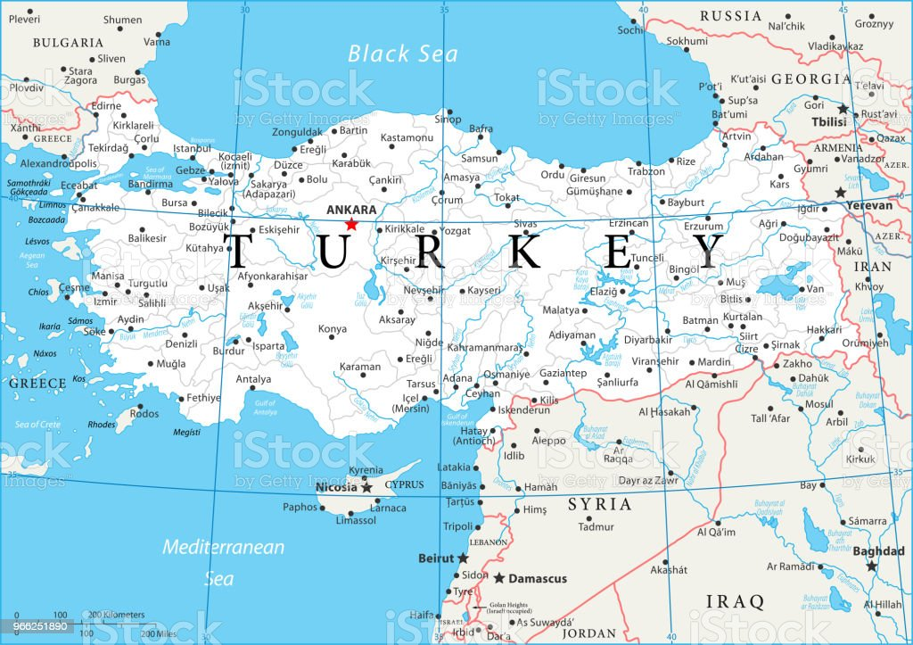 World Map Showing Turkey.Map Of Turkey Vector Stock Vector Art More Images Of Adana