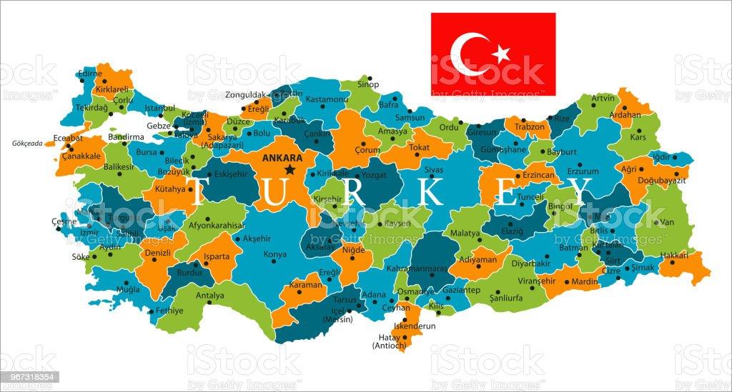 Türkiye - vektör Haritası vektör sanat illüstrasyonu