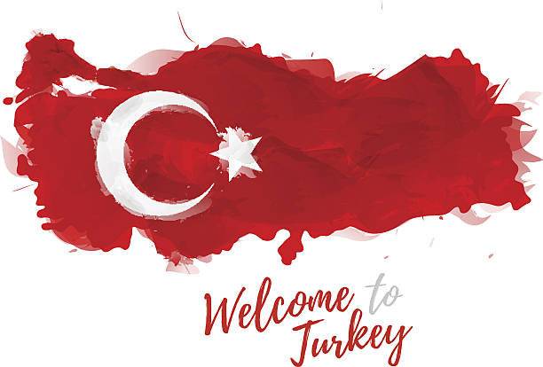 map of turkey with the decoration of the national flag - turcja stock illustrations