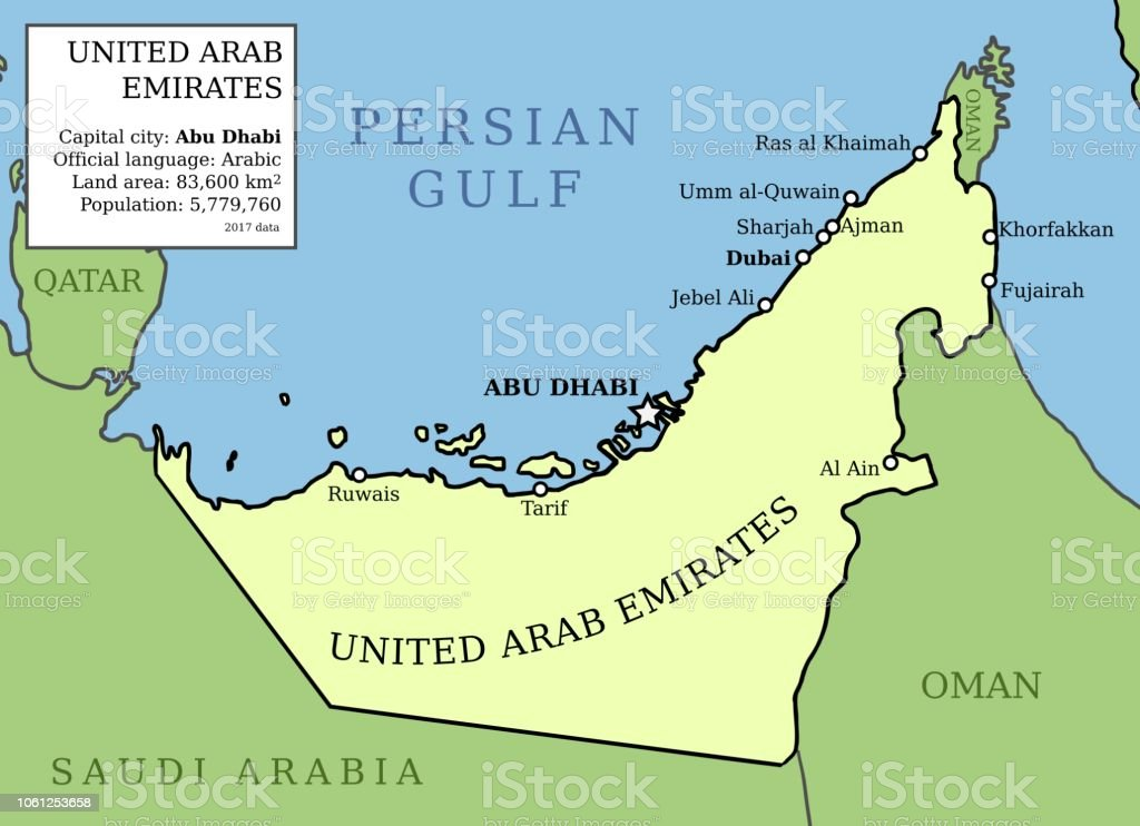Map Of Uae Stock Vector Art & More Images of Abu Dhabi - iStock
