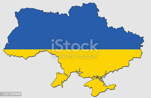istock Map of Ukraine, Filled with the National Flag 1221753426