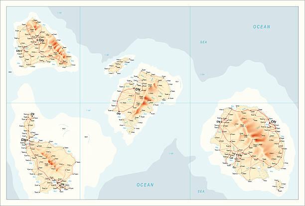 stockillustraties, clipart, cartoons en iconen met map of unidentified islands - mens gemaakte ruimtes