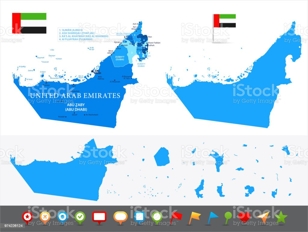 Map Of United Arab Emirates Infographic Vector Stock Vector Art