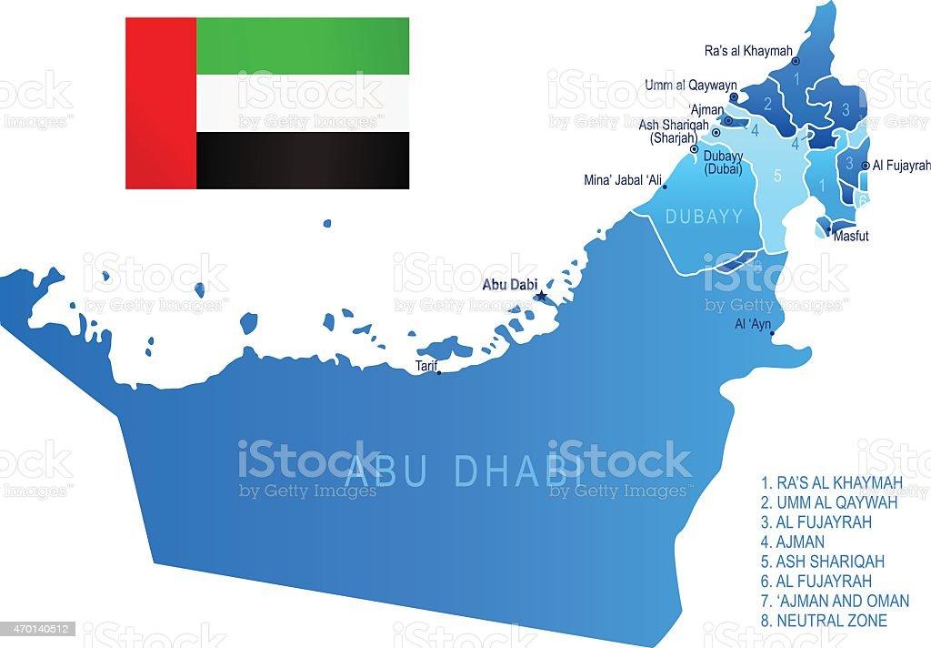 Map of United Arab Emirates vector art illustration