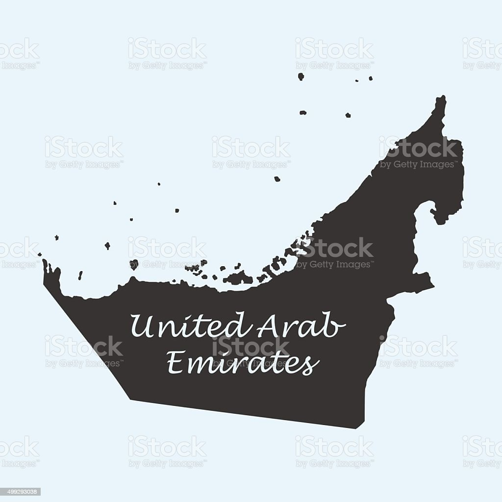 Map of United Arab Emirates vector art illustration