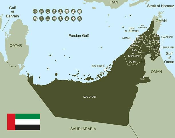 mapa zjednoczone emiraty arabskie - abu dhabi stock illustrations