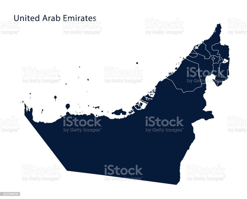 Map of United Arab Emirates (UAE) vector art illustration