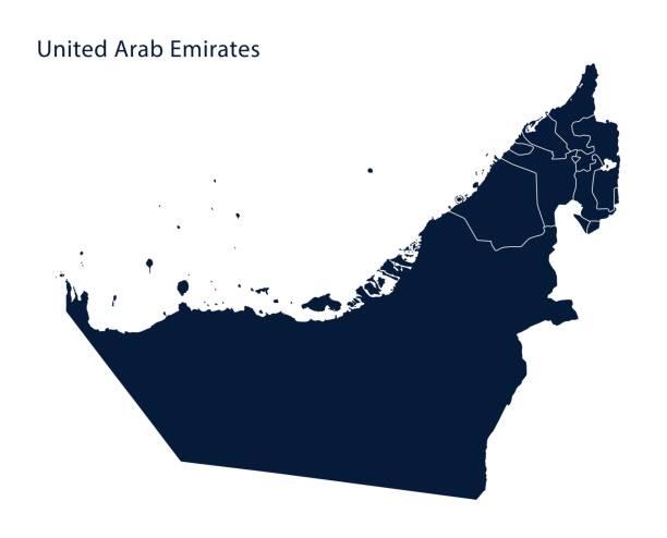 birleşik arap emirlikleri (bae) haritası - abu dhabi stock illustrations