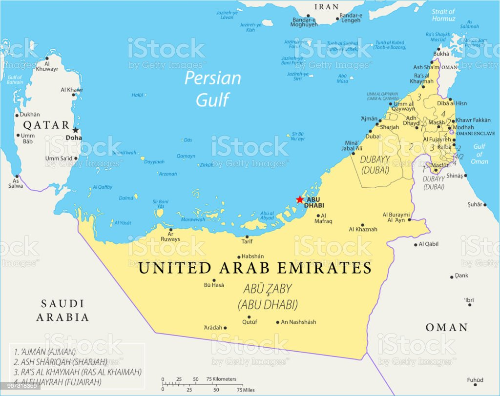 Map Of United Arab Emirates Vector Stock Vector Art & More Images of ...