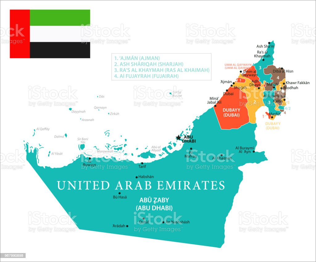 map of united arab emirates vector royalty free map of united arab emirates vector
