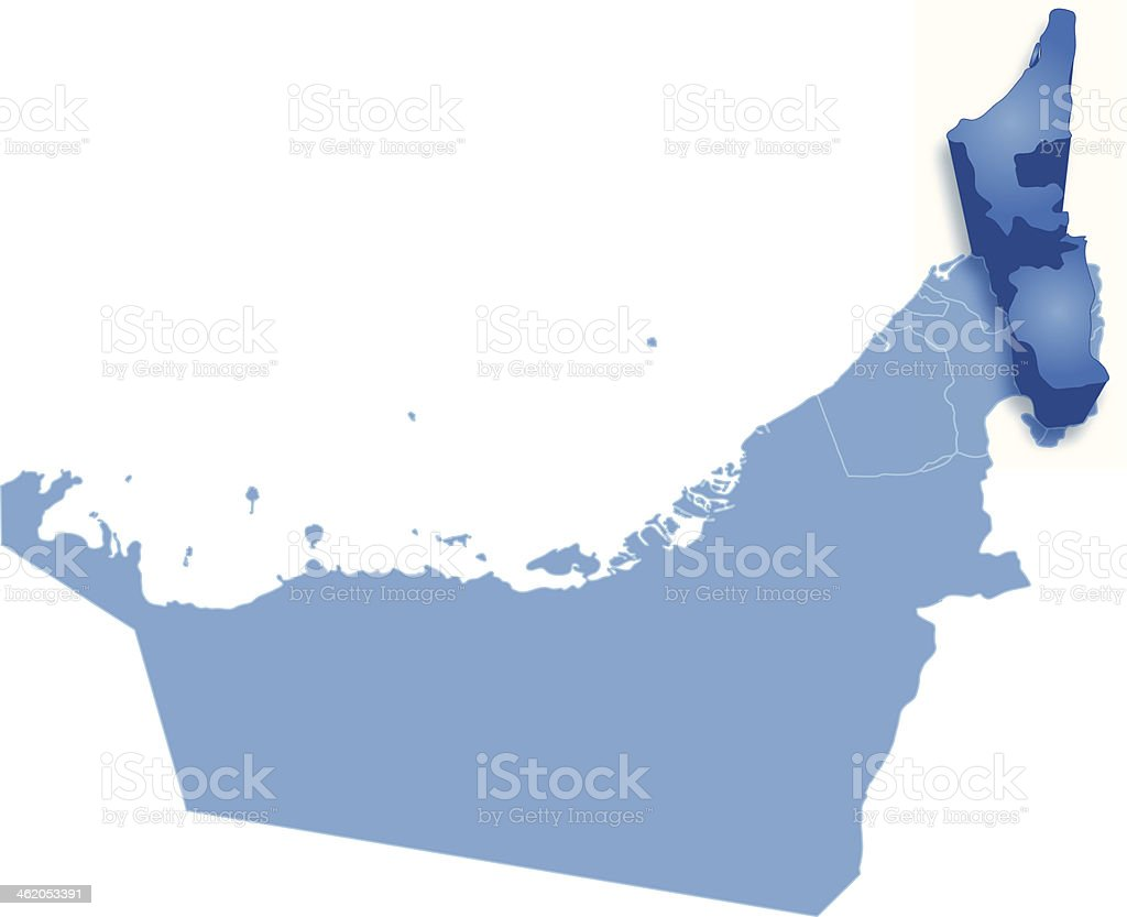 Map of United Arab Emirates where Ras al -Khaimah, pulled vector art illustration