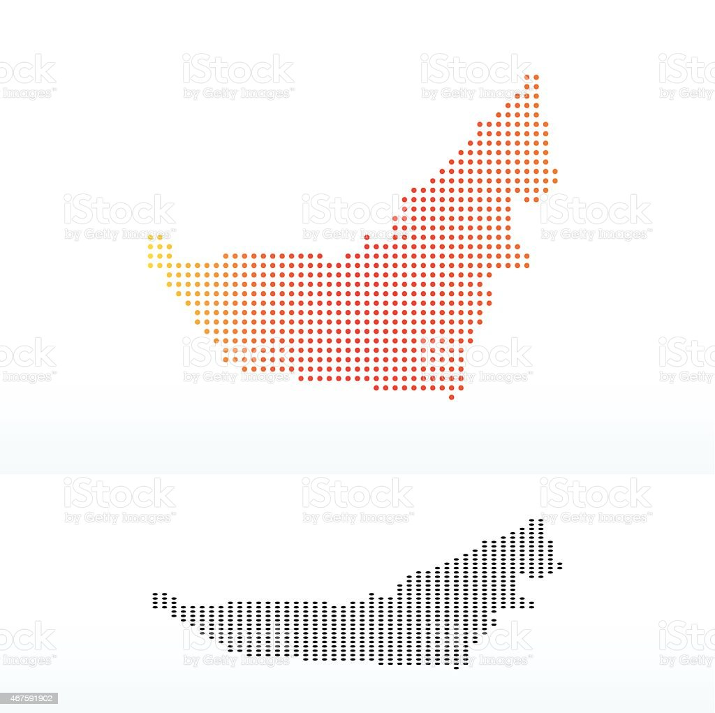 Map of United Arab Emirates with Dot Pattern vector art illustration