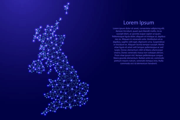 map of united kingdom from polygonal blue lines and glowing stars vector illustration - wales stock illustrations, clip art, cartoons, & icons