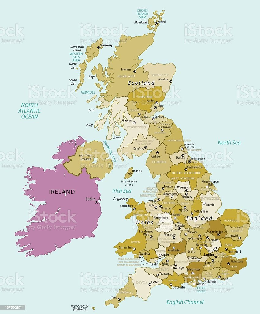 Map Of United Kingdom vector art illustration