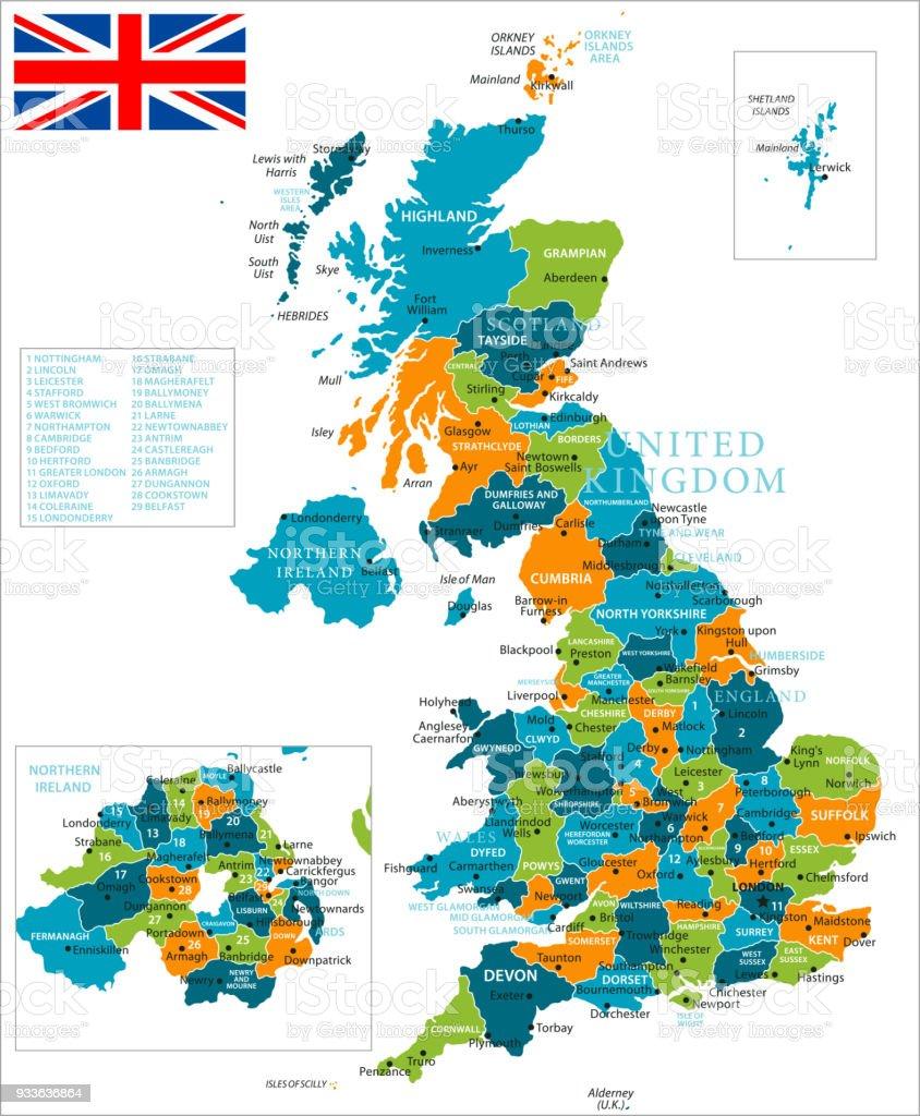 Birmingham Karte.Karte Von Vereinigtes Konigreich Vektor Stock Vektor Art Und