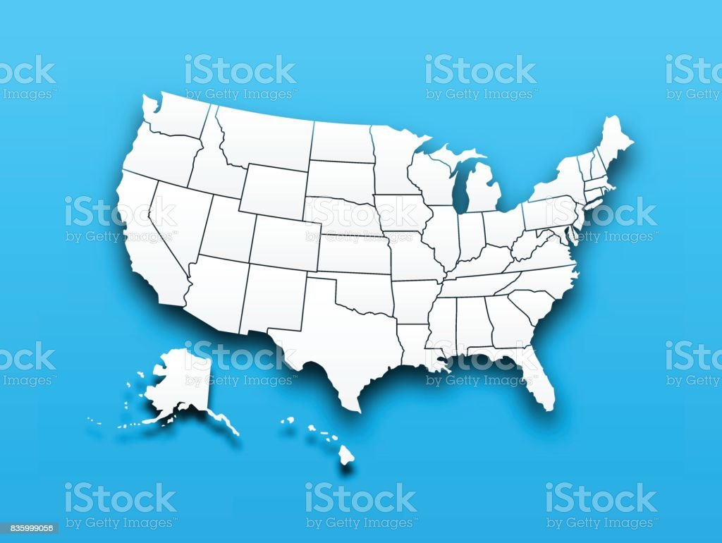 Map of United state of america vector art illustration
