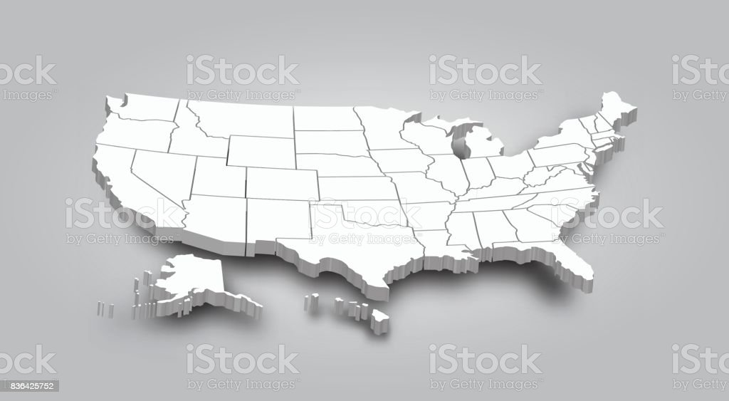 3D Map of United state of america vector art illustration