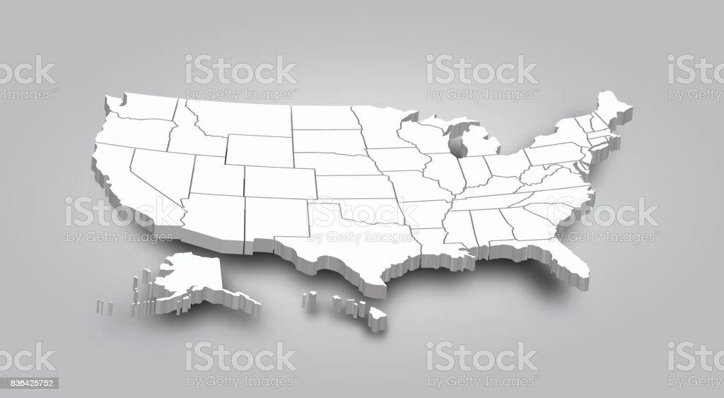 3D estado mapa de Unidos de América - ilustración de arte vectorial